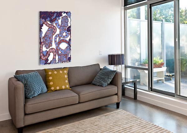 WANDERING ABSTRACT LINE ART 24: ORANGE DREAM RIPPLE  Canvas Print