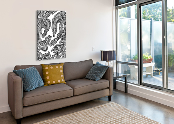 WANDERING ABSTRACT LINE ART 26: GRAYSCALE DREAM RIPPLE  Canvas Print