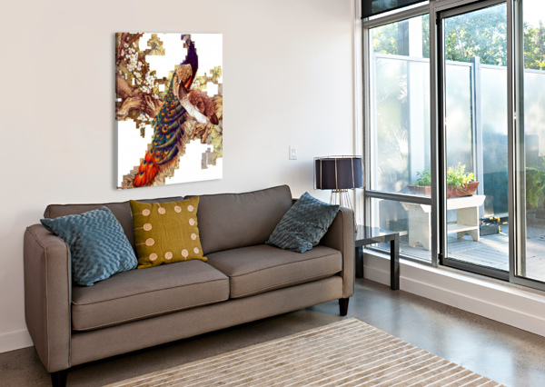 CHINA PEAFOWL GLASS FEATHER PEACOCK SHAMUDY  Canvas Print