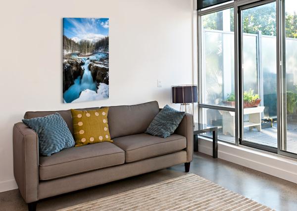 SNOWY SUNWAPTA FALLS LUCAS MOORE  Canvas Print