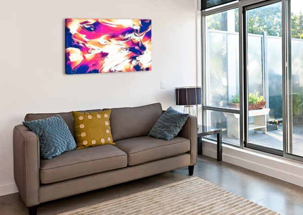 VERY BERRY - WHITE BLUE PINK ORANGE SWIRL ABSTRACT WALL ART JAYCRAVE DESIGNS  Canvas Print