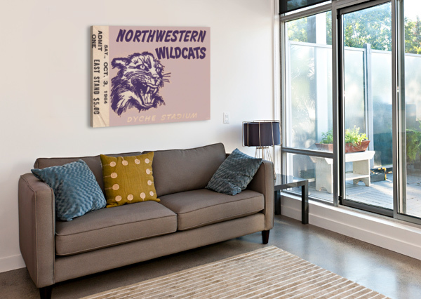 NORTHWESTERN UNIVERSITY WILDCATS COLLEGE FOOTBALL WALL ART TICKET STUB ROW ONE BRAND  Canvas Print