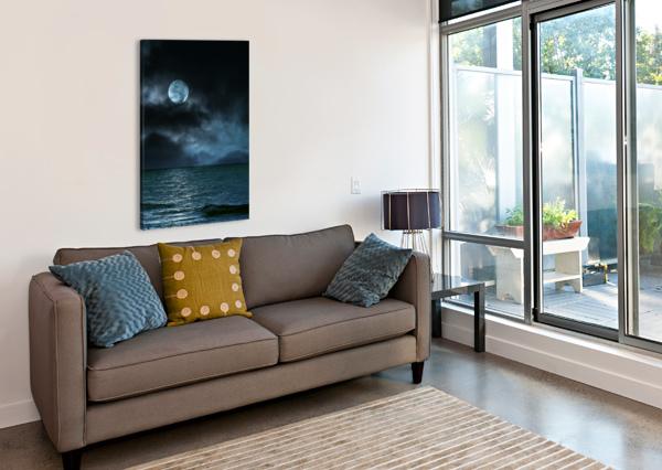CLOUDY MOON SHORE AT NIGHT ARTISTIC PARADIGMS  Canvas Print