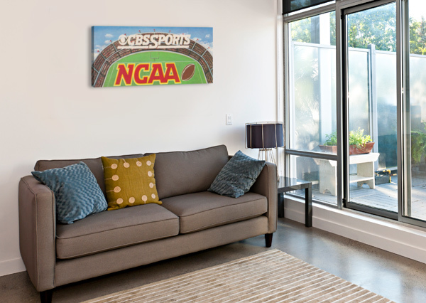 CBS SPORTS NCAA FOOTBALL AD REPRODUCTION_VINTAGE SPORTS ADS_RETRO 1980S AD ROW ONE BRAND  Canvas Print