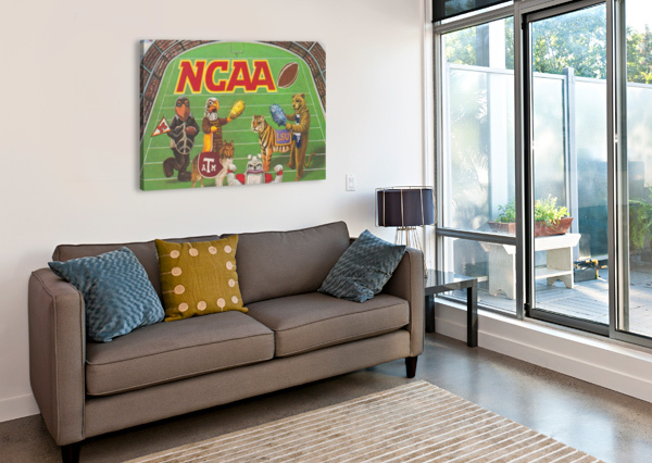 1984 NCAA FOOTBALL AD REPRODUCTION_VINTAGE SPORTS ADS_RETRO SPORTS ADVERTISEMENT ROW ONE BRAND  Canvas Print