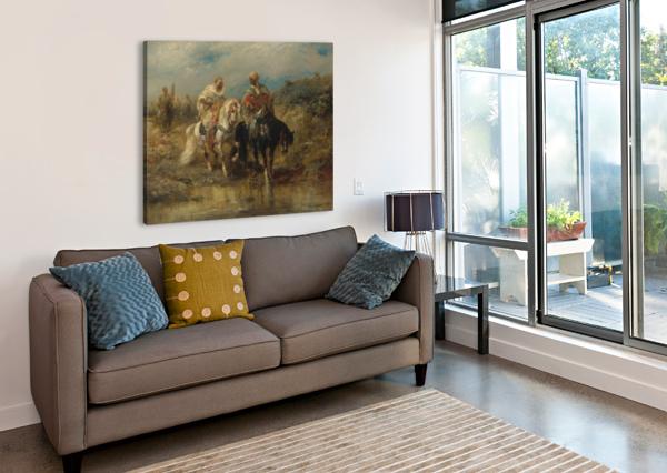 ARAB HORSEMEN RAIDING ADOLF SCHREYER  Canvas Print