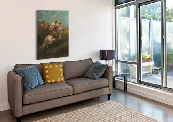 ARABS RIDING HORSES ADOLF SCHREYER  Canvas Print