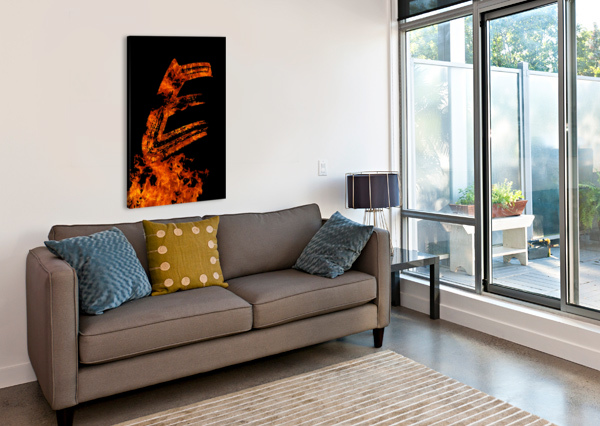 BURNING ON FIRE LETTER E ARTISTIC PARADIGMS  Canvas Print