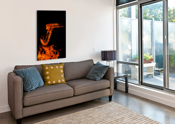 BURNING ON FIRE LETTER J ARTISTIC PARADIGMS  Canvas Print