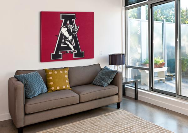 VINTAGE ALABAMA A ELEPHANT ARTWORK 1982 COLLEGE POSTER ROW ONE BRAND  Canvas Print