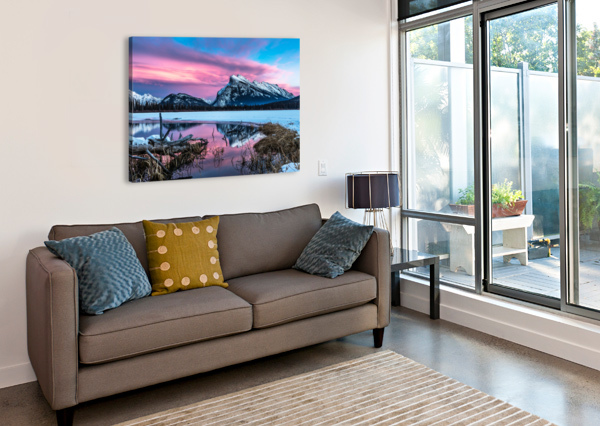 RUNDLE MOUNTAIN SUNSET BANFF NATIONAL PARK MIKE GOULD PHOTOSCAPES  Canvas Print