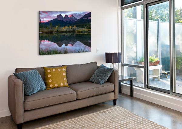 THREE SISTERS FALL SUNRISE CANMORE MIKE GOULD PHOTOSCAPES  Canvas Print