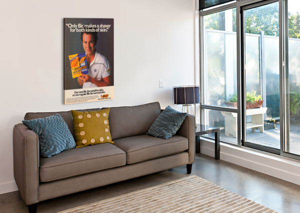 ROW ONE VINTAGE SPORTS ADS RETRO BIC SHAVER JOHN MCENROE TENNIS POSTER ROW ONE BRAND  Canvas Print