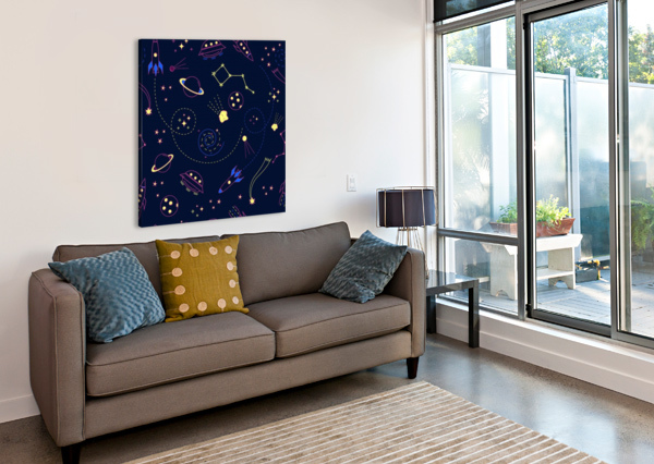CARTOON SPACE SEAMLESS PATTERN VECTORS SHAMUDY  Canvas Print