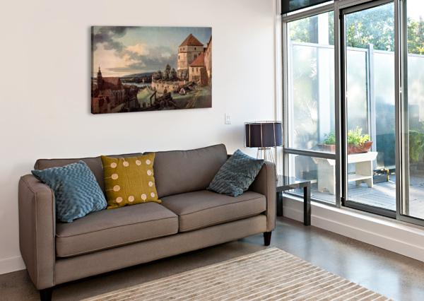 LANDSCAPE WITH CASTLE AND RIVER BERNARDO BELLOTTO  Canvas Print