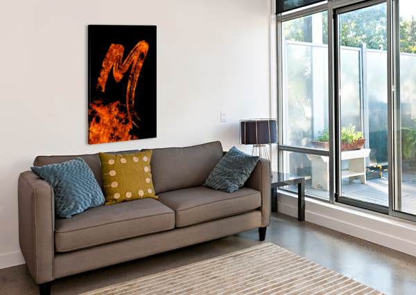 BURNING ON FIRE LETTER M ARTISTIC PARADIGMS  Canvas Print