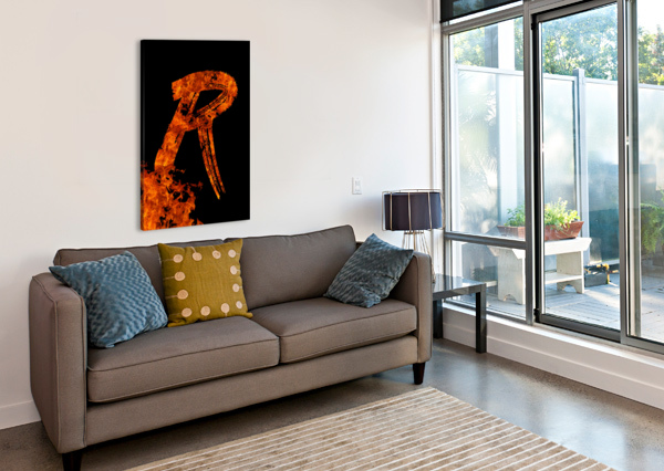 BURNING ON FIRE LETTER R ARTISTIC PARADIGMS  Canvas Print