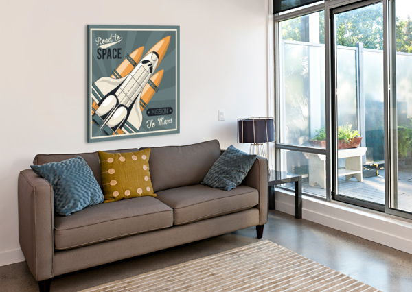 LIFE SPACE POSTER WITH MARS ROCKET ROCKETS VINTAGE SHAMUDY  Canvas Print
