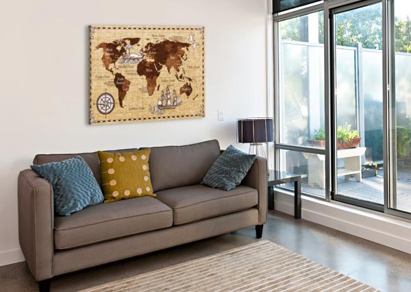 VINTAGE OLD CLASSIC ANTIQUE RETRO MAP SHAMUDY  Canvas Print