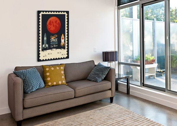 LIFE SPACE POSTER WITH MARS ROCKET ROCKETS SHAMUDY  Canvas Print