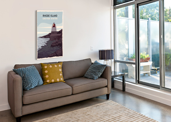 RHODE ISLAND RETRO POSTER USA RHODE ISLAND TRAVEL ILLUSTRATION UNITED STATES AMERICA SHAMUDY  Canvas Print