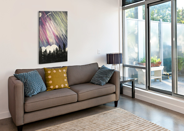 AURORA BOREALIS ABOVE THE FOREST JACQUELINE SLETER  Canvas Print