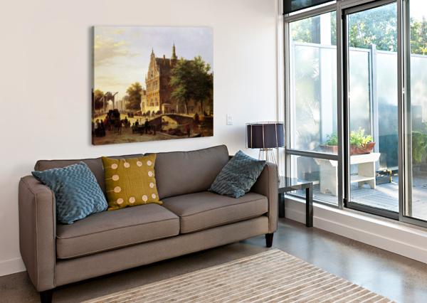 CITY VIEW SUN BARTHOLOMEUS JOHANNES VAN HOVE  Canvas Print