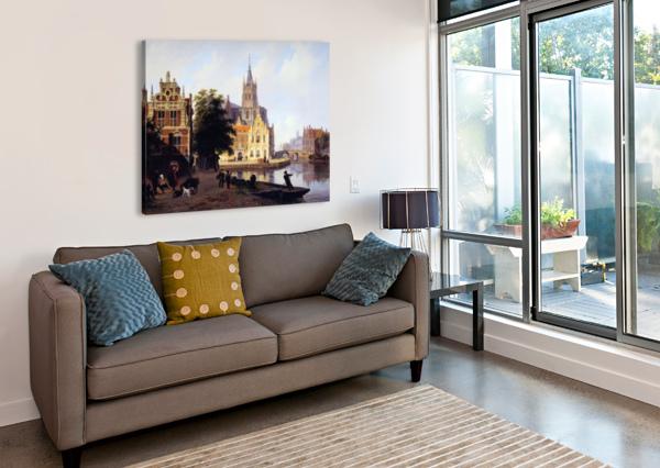 CITY VIEW WITH CANAL SUN BARTHOLOMEUS JOHANNES VAN HOVE  Canvas Print