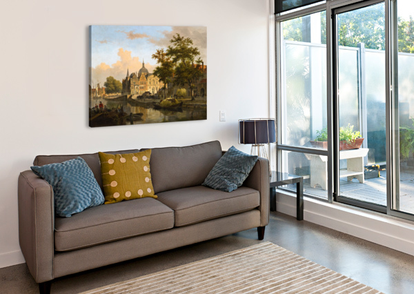 VIEW OF A DUTCH CITY BARTHOLOMEUS JOHANNES VAN HOVE  Canvas Print