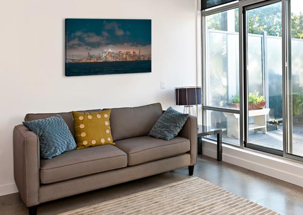 CLOUDY SAN FRANCISCO NIGHT SKYLINE DAVID YOON  Canvas Print