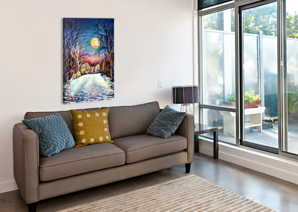 WINTER FULL MOON NIGHT LANDSCAPE WATERCOLOR NISURIS ART  Canvas Print