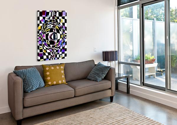 WATERCOLOR ABSTRACT CHESS PATTERN NISURIS ART  Canvas Print