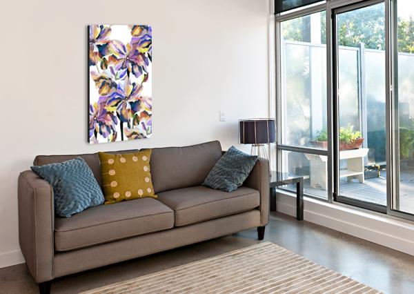WATERCOLOR VINTAGE RETRO FLORAL PATTERN  NISURIS ART  Canvas Print