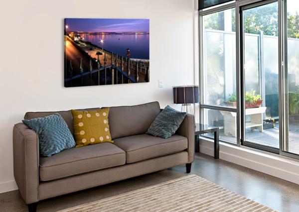 SWANSEA BAY AT NIGHT LEIGHTON COLLINS  Canvas Print