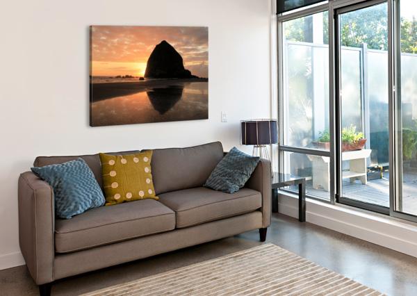 HAYSTACK ROCK AT SUNSET BERN E KING PHOTOGRAPHY  Canvas Print