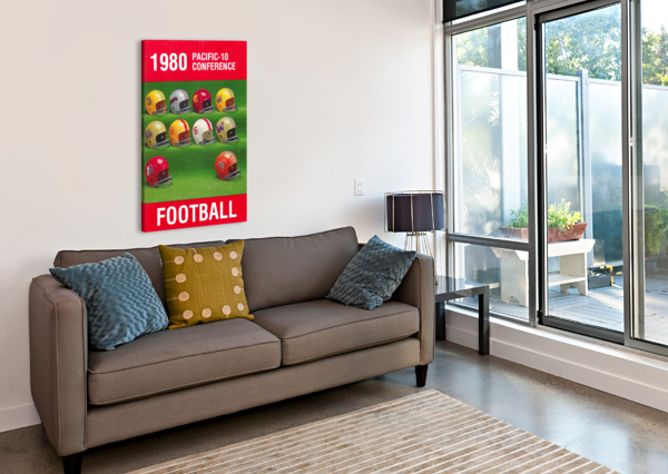 1980 PAC 10 FOOTBALL POSTER ROW ONE BRAND  Canvas Print