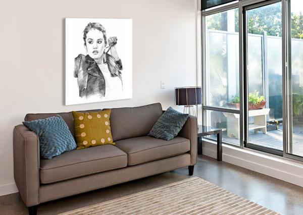 SELENA GOMEZ - CELEBRITY PENCIL ART ART LOVER  Canvas Print