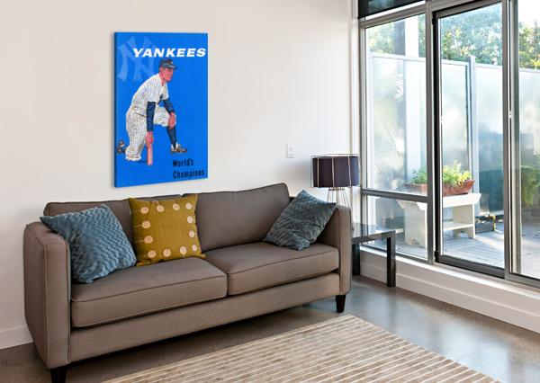 1958 NEW YORK YANKEES VINTAGE BASEBALL ART ROW ONE BRAND  Canvas Print
