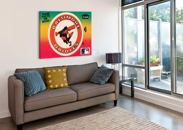 1983 FLEER BASEBALL STICKERS BALTIMORE ORIOLES WOOD PRINT ROW ONE BRAND  Canvas Print