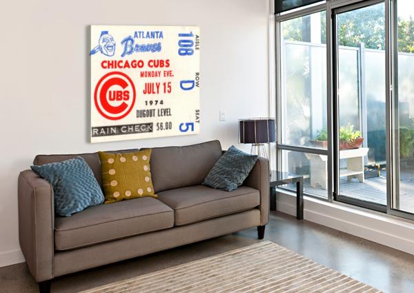 1974_MAJOR LEAGUE BASEBALL_CHICAGO CUBS VS. ATLANTA BRAVES TICKET STUB ART ROW ONE BRAND  Canvas Print