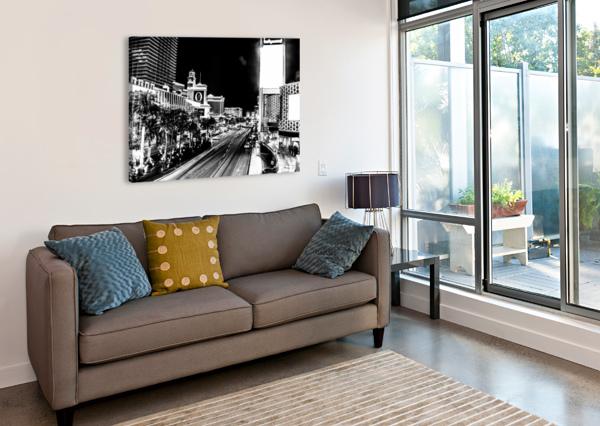 LAS VEGAS NIGHT SHOT B&W JOHNNYPHOTOFREAK  Canvas Print