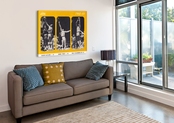 1968 LOS ANGELES LAKERS POSTER ROW ONE BRAND  Canvas Print