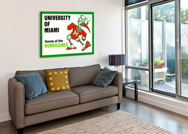 UNIVERSITY OF MIAMI HOME OF THE HURRICANES ROW ONE BRAND  Canvas Print