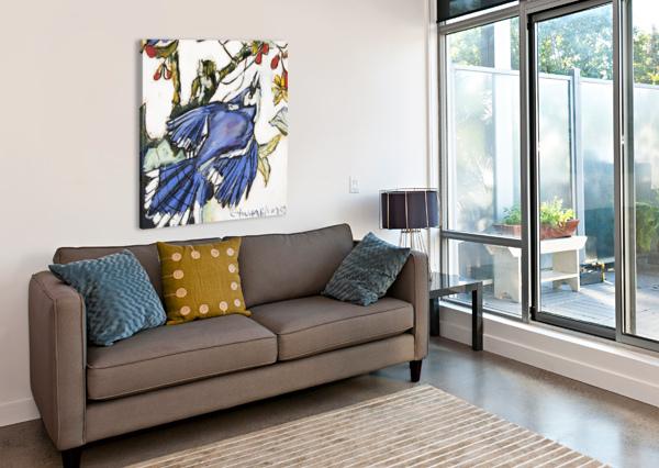 LOUISIANA BLUE JAY STUDY ON WOOD CAROLINE YOUNGBLOOD  Canvas Print