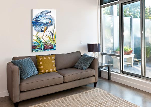 LOUISIANA BLUE HERON CATCHING FISH- BRIGHT CAROLINE YOUNGBLOOD  Canvas Print