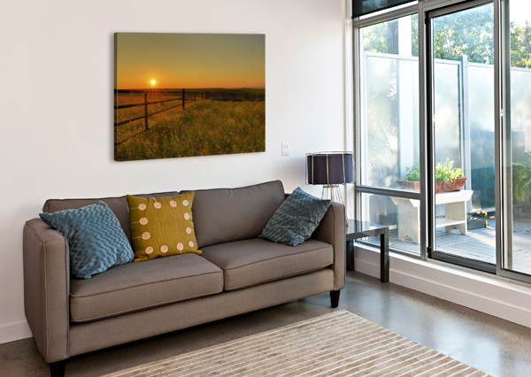CATTLE PENS MORNING SUNBURST BERN E KING PHOTOGRAPHY  Canvas Print