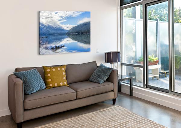 SNOWY DAY ON THE LAKE CARMEL STUDIOS  Canvas Print