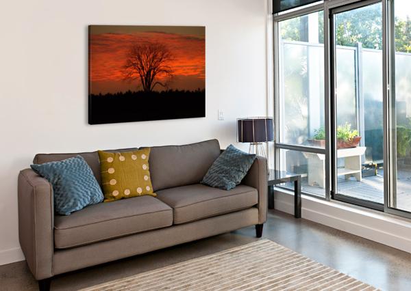 WISCONSIN NOVEMBER SUNSET WOOD COUNTY BERN E KING PHOTOGRAPHY  Canvas Print