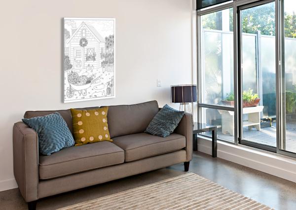 AUTUMN COTTAGE COLORING PAGE DREAM RIPPLE  Canvas Print