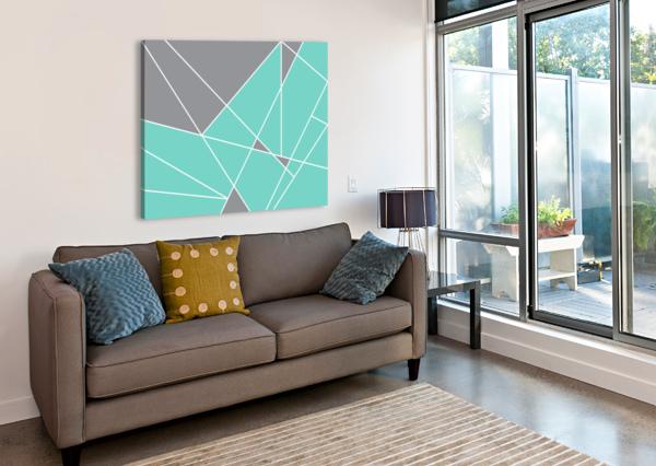 GRAY TEAL TRIANGLES GEOMETRIC ART GAT101-3 EDIT VOROS  Canvas Print